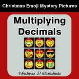 Multiplying Decimals - Christmas EMOJI Color-By-Number Math Mystery Pictures