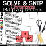 Christmas Math Activity | Multiplying Decimals | Solve and Snip® | Math Station