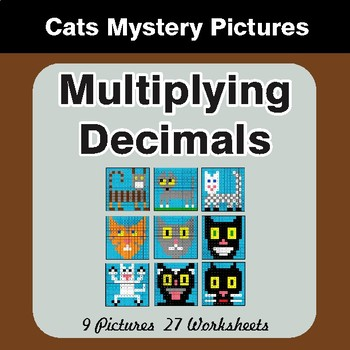 Multiplying Decimals - Color-By-Number Mystery Pictures - Cats Theme