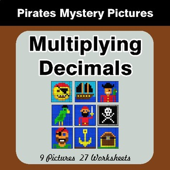 Multiplying Decimals - Color-By-Number Math Mystery Pictures - Pirates Theme