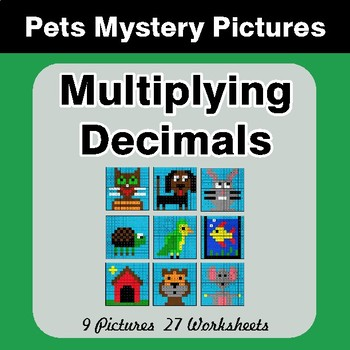 Multiplying Decimals - Color-By-Number Mystery Pictures - Pets Theme