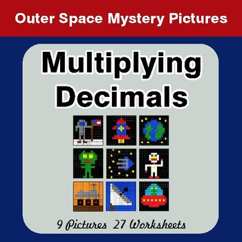 Multiplying Decimals - Color-By-Number Mystery Pictures - Space theme