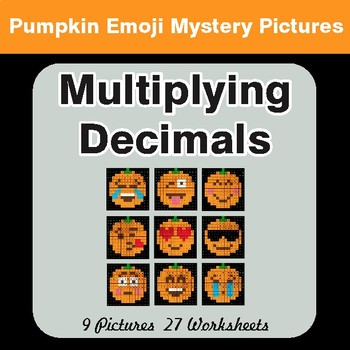 Multiplying Decimals - Color-By-Number PUMPKIN EMOJI Math Mystery Pictures