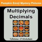 Multiplying Decimals - Color-By-Number EMOJI PUMPKIN Mystery Pictures