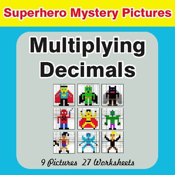 Multiplying Decimals - Color-By-Number Superhero Math Mystery Pictures
