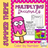 Multiplying Decimals Color by Number: Summer/End-of-the-Year Theme
