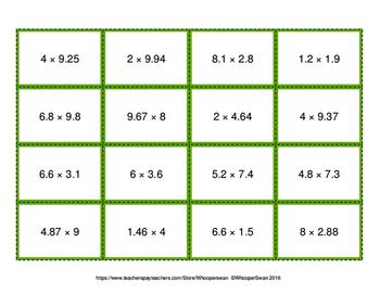 Multiplying Decimals - Connect 4 Game
