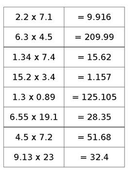 Multiplying Decimals Cut and Paste