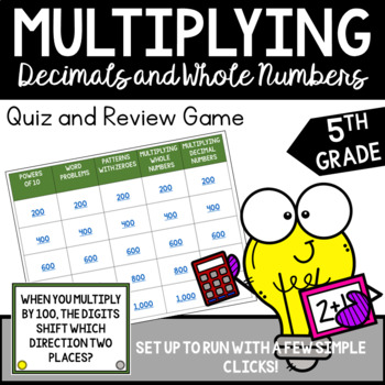 Multiplying Decimals and Whole Numbers Jeopardy Review Game