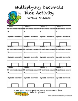 multiplying decimals dice activity by for the love of teaching math. Black Bedroom Furniture Sets. Home Design Ideas