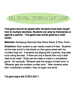 Multiplying Decimals Dice Game