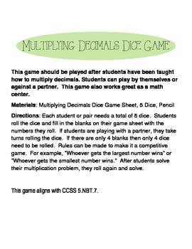 Multiplying Decimals Dice Game