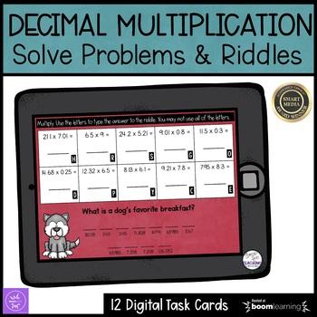 Multiplying Decimals Digital Task Cards | Riddles