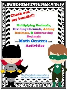 Multiplying Decimals, Dividing Decimals, Adding Decimals,