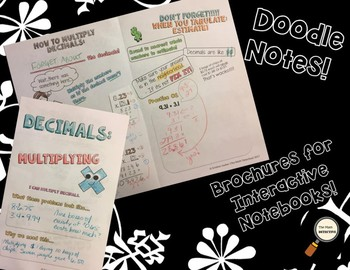 Multiplying Decimals - Doodle Notes Brochure for Interactive Notebooks
