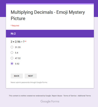 Multiplying Decimals - EMOJI Mystery Picture - Google Forms