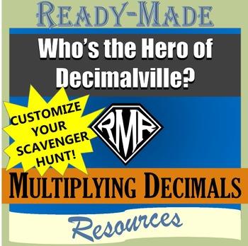 Multiplying Decimals (Editable Scavenger Hunt)
