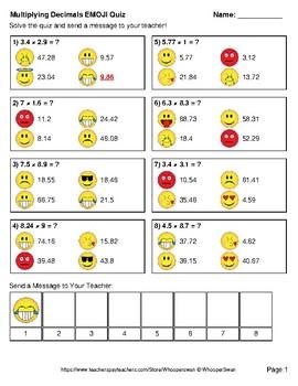 Multiplying Decimals Emoji Quiz