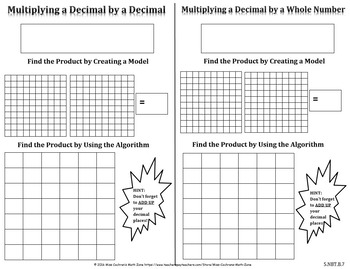 Multiplying Decimals Fill-In Resource Page
