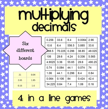 Multiplying Decimals: Four in a Line Games