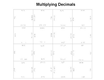 Multiplying Decimals Fun Square Puzzle