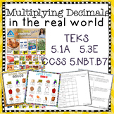 Multiplying Decimals In the Real World Grocery Ad Activity TEKS 5.3E 5.NBT.B7