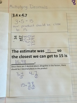 Multiplying Decimals Interactive Notebook Foldable Entry