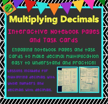 Multiplying Decimals Interactive Notebook Pages and Task Cards