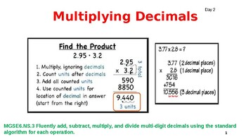 Multiplying Decimals 6.NS.3 Day 2
