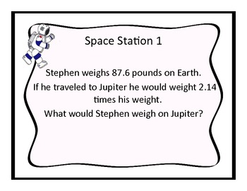 Multiplying Decimals Math Space Stations and Task Cards