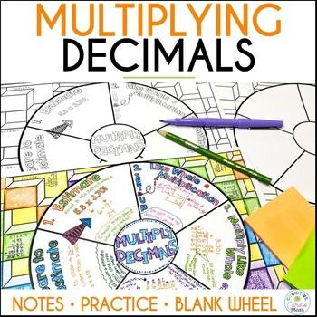 Multiplying Decimals Math Wheel - Fun Notes for Decimal Multiplication
