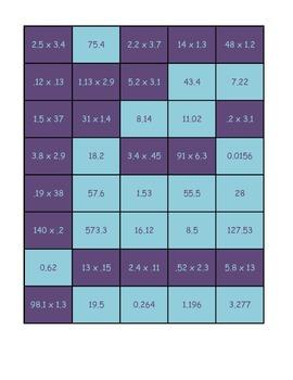 Multiplying Decimals Memory Game