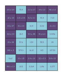 Multiplying Decimals Memory Game