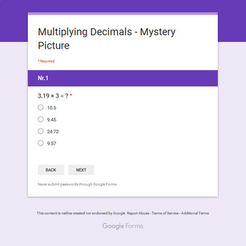 Multiplying Decimals - Monster Mystery Picture - Google Forms