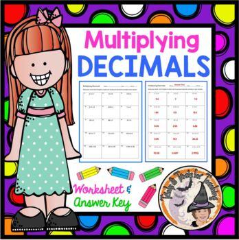 Multiplying Decimals Multiply Decimal Worksheet with Answer KEY