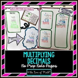 Multiplying Decimals No Prep Note Pages