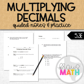 Multiplying Decimals Notes & Practice BUNDLE (GRADE 5)
