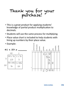 Multiplying Decimals- Partial Products