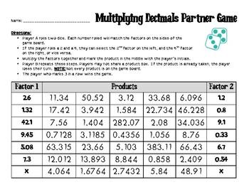 Multiplying Decimals Partner Game