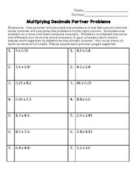Multiplying Decimals Partner Problems