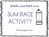 Multiplying Decimals (Positive Answers) Sum Race Activity