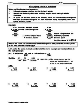 Multiplying Decimals Practice Worksheet