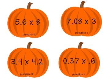 Multiplying Decimals Pumpkin Match-Up