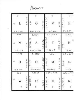 Multiplying Decimals Puzzle