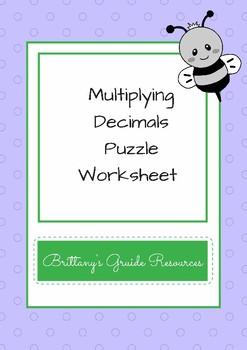 Multiplying Decimals Puzzle Worksheet