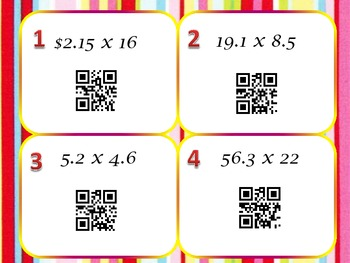Multiplying Decimals QR Code Task Cards