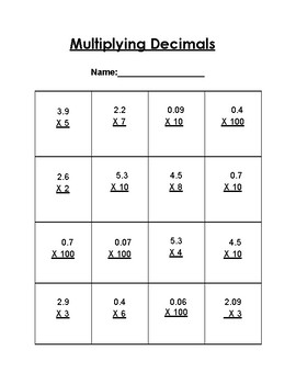 Multiplying Decimals Quiz