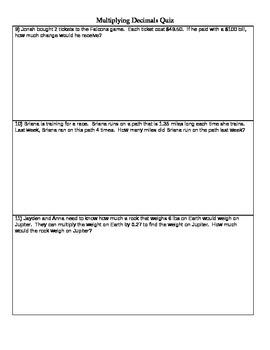 Multiplying Decimals Quiz-5th grade