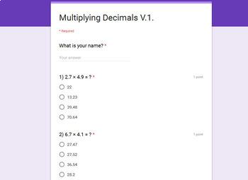 Multiplying Decimals Quiz  (Google Forms)