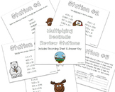 Multiplying Decimals Review Stations ~ Woodland Animals Theme